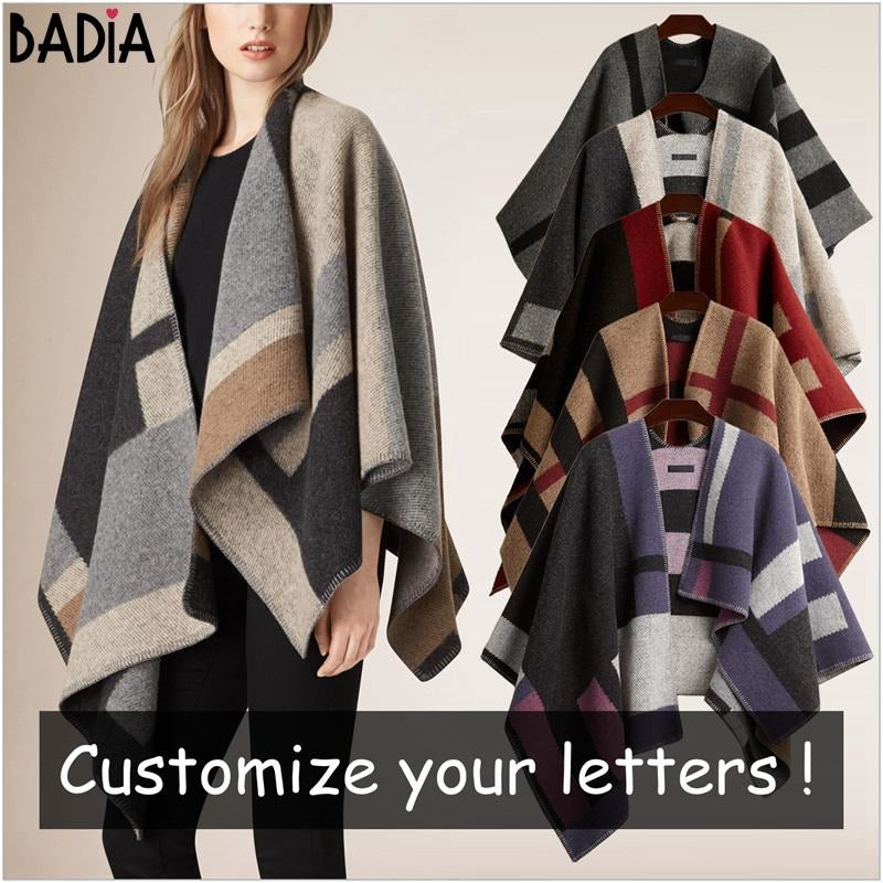 744a378e1f2c Winter Brand Women Blanket Poncho Coat Top Cashmere Wool Scarf Plaid  Monogram Poncho Cape Color Block ...