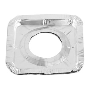 Stove Square Gas Burner Disposable Bib Liners Covers- Aluminum Foil-Pack of 10