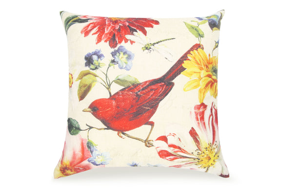 Pal Fabric Blended Linen  Flower Square 18x18 Red Bird Flower Pillow Cover