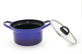 Non Stick Aluminum Die-Casting Dutch Oven Marble Stone Coating Stock BLUE Pot with Lid (24 cm , 7.0 Qt)