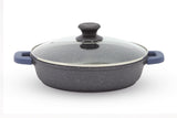Non Stick Aluminum Die-Casting Dutch Oven Marble Stone Coating low Pot with Lid (28 cm , 4.0 Qt)
