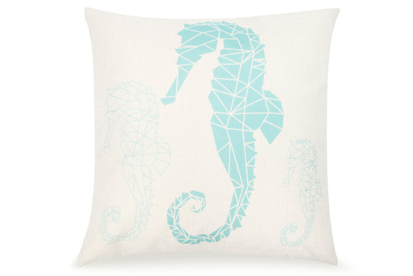 Pal Fabric Blended Linen Square 18x18 Tiffany Blue Geometric Seahorse Pillow Cover