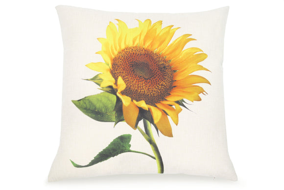 Pal Fabric Blended Linen  Flower Square 18x18 Sunflower Pillow Cover