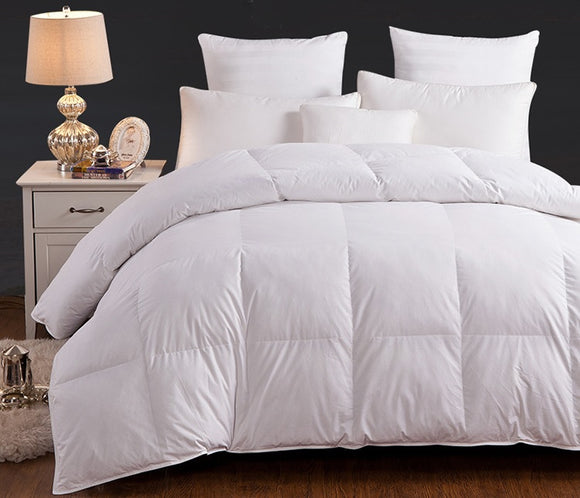 Pal Fabric 380 TC 100% Cotton Luxury Hotel Colletion Satin Cording Box Quited Premium White Goose Down Alternative Comforter - 48 oz  Queen