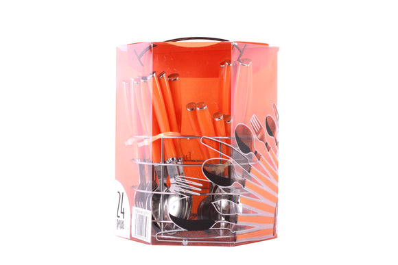 24 PCs Orange Flat ware with Orange Plastic Handle