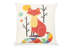 Pal Fabric Blended Linen Animals Square 18x18 Pillow Cute Fox Cover