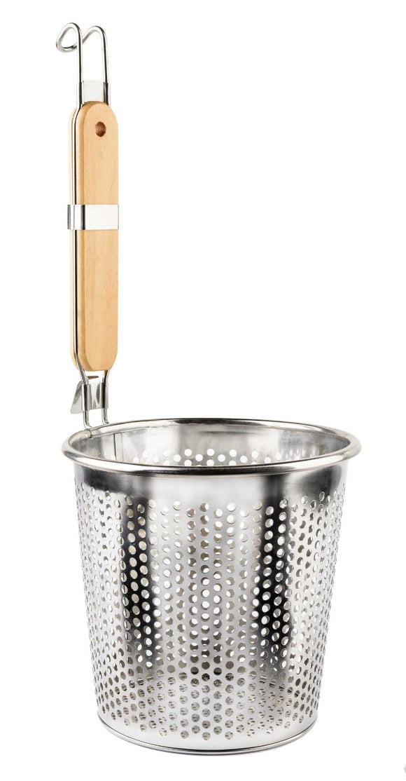 Medium Stainless Steel Food Strainer Colander With Wooden Hook Handle