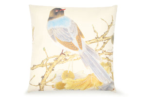Pal Fabric Blended Linen  Flower Square 18x18 Blue Bird on Tree Pillow Cover