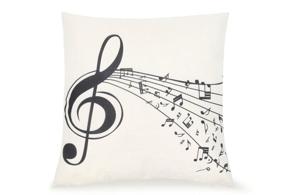 Pal Fabric Blended Linen Square 18x18 Music Treble Clef Black and White Pillow Cover