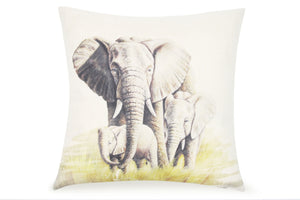 Pal Fabric Blended Linen Animals Square  Safari Africa Mommy and baby Elephant 18x18 Pillow Cover