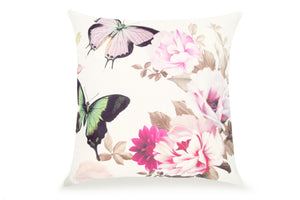 Pal Fabric Blended Linen  Flower Square 18x18 Pink Butterfly and Flower Pillow Cover