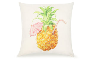 Pal Fabric Blended Linen Square 18x18 Pillow Cover Summer Pineapple Drink Beach