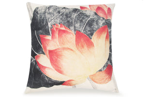 Pal Fabric Blended Linen  Flower Square 18x18 Chinese Water Lily Flower Pillow Cover