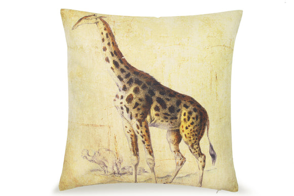 Pal Fabric Blended Linen Animals Square   Safari Africa Nature Giraffe 18x18 Pillow Cover
