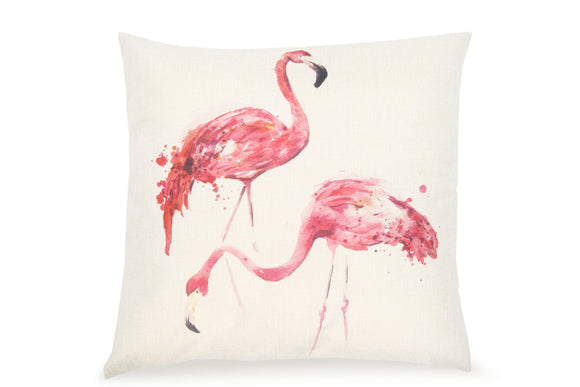 Pal Fabric Blended Linen Animals Square 18x18 Flamingo Couple Pillow Cover