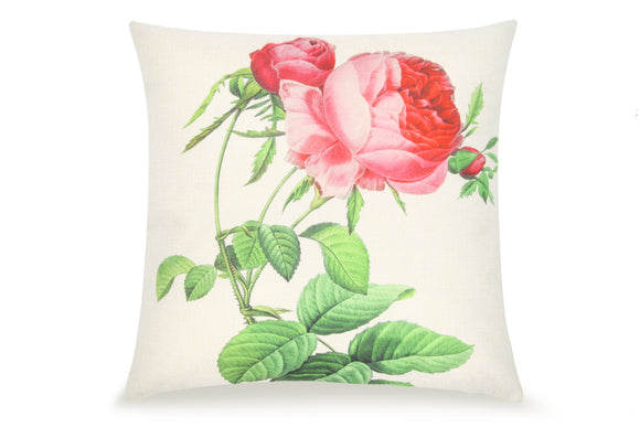 Pal Fabric Blended Linen  Flower Square 18x18 Rose  Flower Pillow Cover