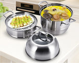 Stainless Steel 3-Tier/Layer Steamer cooking pot, Rice cooker, Double Boilder, stack, steam soup pot and steamer. Visible cover , work with Gas, Electric, Induction and Grill stove top (Jumbo 32cm)
