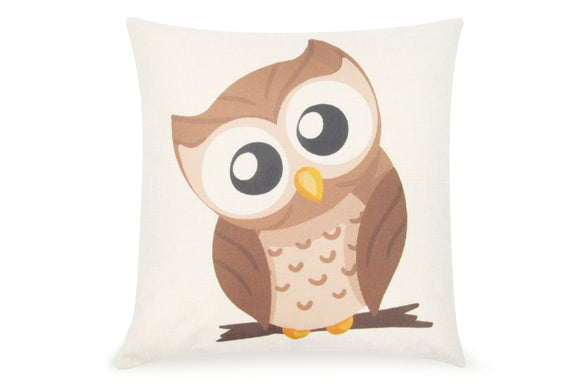 Pal Fabric Blended Linen Animals Square 18x18 Cute Owl School Doctor Pillow Cover
