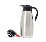 Stainless Steel Double Walled Vacuum Insulated Carafe with Press Button Top, Quality Thermal Carafe, Water Pitcher with Lid, coffee Pots, Serving Pitchers Coffee Thermos, Keeps Brewed Coffee or Tea Hot 2.6-liter,Silver