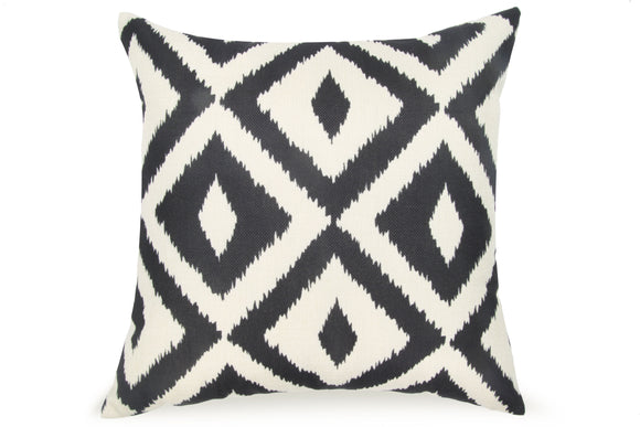 Pal Fabric Blended Linen  Flower Square 18x18 Black and White Geometric Trellis Pillow Cover