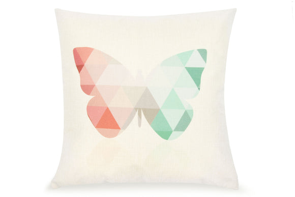 Pal Fabric Blended Linen Square 18x18 Geometric Butterfly Modern Pillow Cover