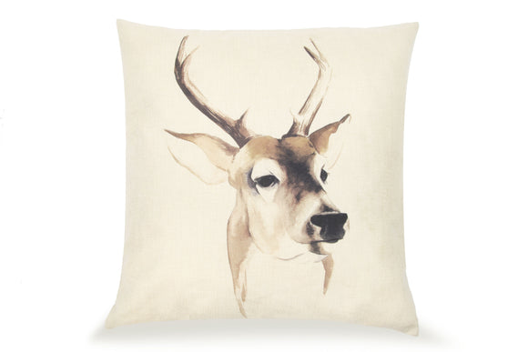 Pal Fabric Blended Linen Animals Square Watercolor Deer  18x18 Pillow Cover