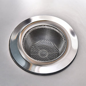 "Stainless-Steel Kitchen Sink Strainer - Large Wide Rim 4.45"" Diameter"