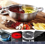 Hot Pot Chinese Japanese Shabu Shabu Cooking Stainless Steel Dual Sided Pot set with TWO FREE Stainer Spoon Sets. Can be used on induction cooker, gas furnace, electric furnace. (30 CM Dual Sided)