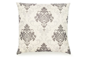 Pal Fabric Blended Linen  Flower Square 18x18 Grey Dansk Pattern Pillow Cover