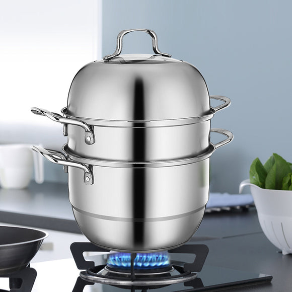 Stainless Steel 3-Tier/Layer Steamer cooking pot, Rice cooker, Double Boilder, stack, steam soup pot and steamer. Visible cover , work with Gas, Electric, Induction and Grill stove top (Jumbo 26cm)