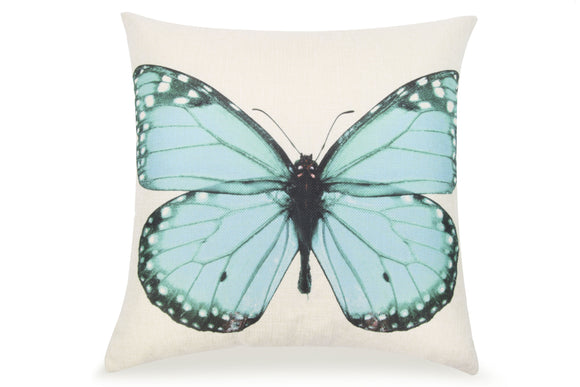 Pal Fabric Blended Linen  Flower Square 18x18  Blue Butterfly Pillow Cover
