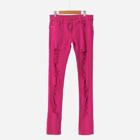 41e264eb4bf Women s Ripped Candy Pants Pencil Trousers Stretch Long Pants For Women  Slim Ladies Jean Trousers Female