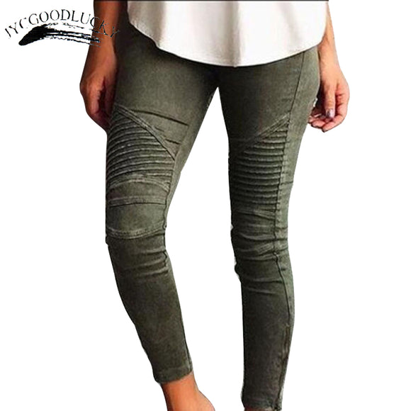 fd0e4f9cc4e Pleated Skinny Jeans Woman Fashion Slim Strong Elastic Women s Jeans Pants  Ladies All Matches White Jeans