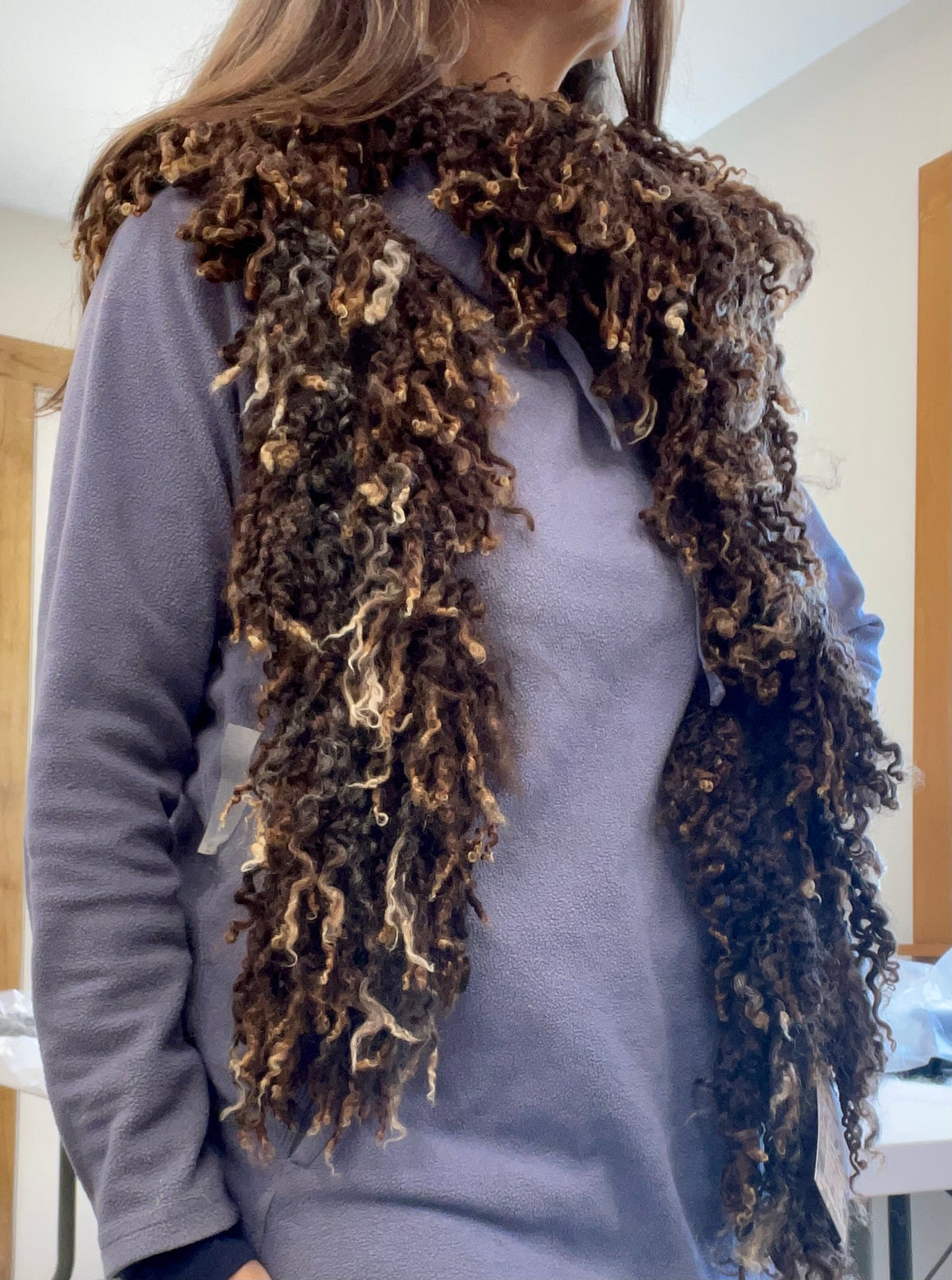 Natural Color Wensleydale Felted Lock Scarf