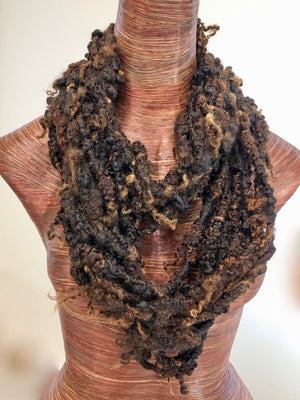 Black Brown Handspun Wensleydale Yarn
