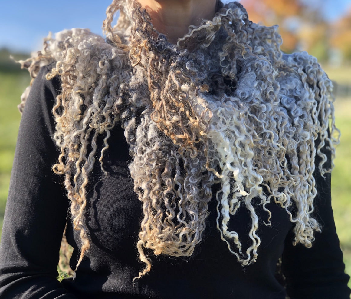 Gray Variegated LongwoolCrossbred Lamb wet felted Scarf