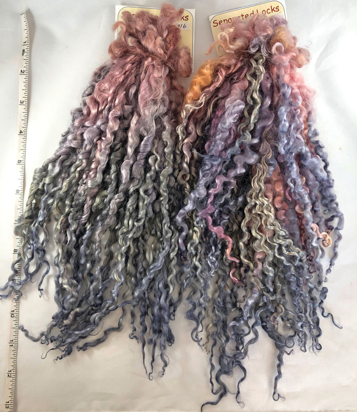 """Sunset"" Gradient-dyed Separated Teeswater Locks"