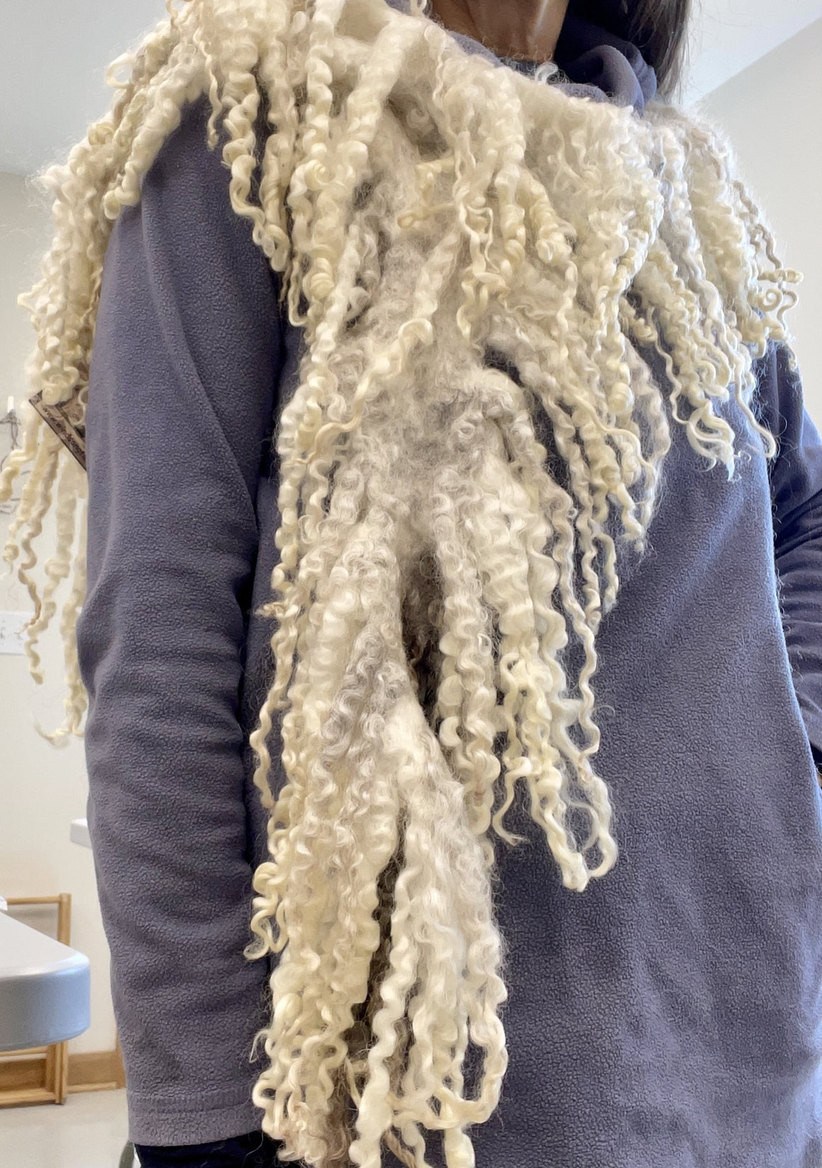 White and Grey Longwool Felted Lock Scarf