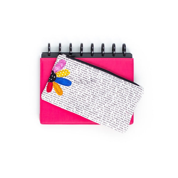 Deluxe Pen Pouch: Text w/ Multicolor Flower to Side