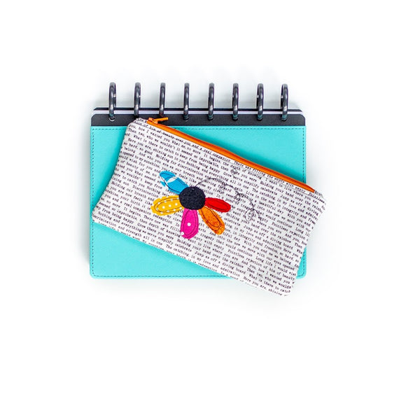 Deluxe Pen Pouch: Text w/ Multicolor Flower