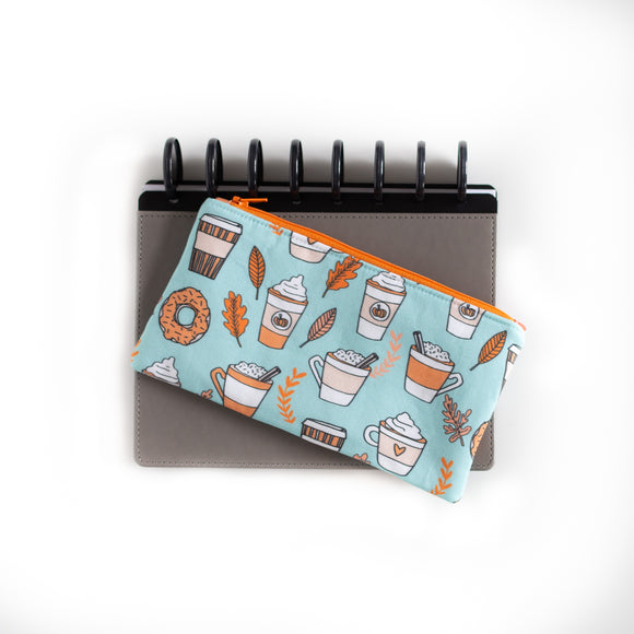 Deluxe Pen Pouch - Coffee on Aqua