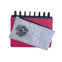 Deluxe Pen Pouch - Printed with Gray Multi Color Leopard Print Flower
