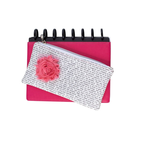 Deluxe Pen Pouch - Printed with Pink Flower