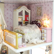Hoomeda DIY Dollhouse Miniature Model With Lights and Music bedroom