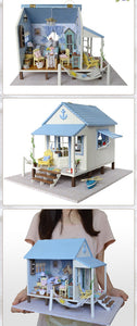 Wooden Doll House Caribbean Beach Cottage w/Furniture Miniature DIY Kit views