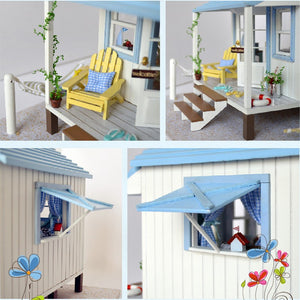 Wooden Doll House Caribbean Beach Cottage w/Furniture Miniature DIY Kit close up
