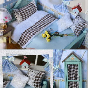 Wooden Doll House Caribbean Beach Cottage w/Furniture Miniature DIY Kit bed