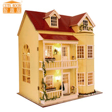 Wooden Miniature Doll House Kit with Furniture and LED Lights