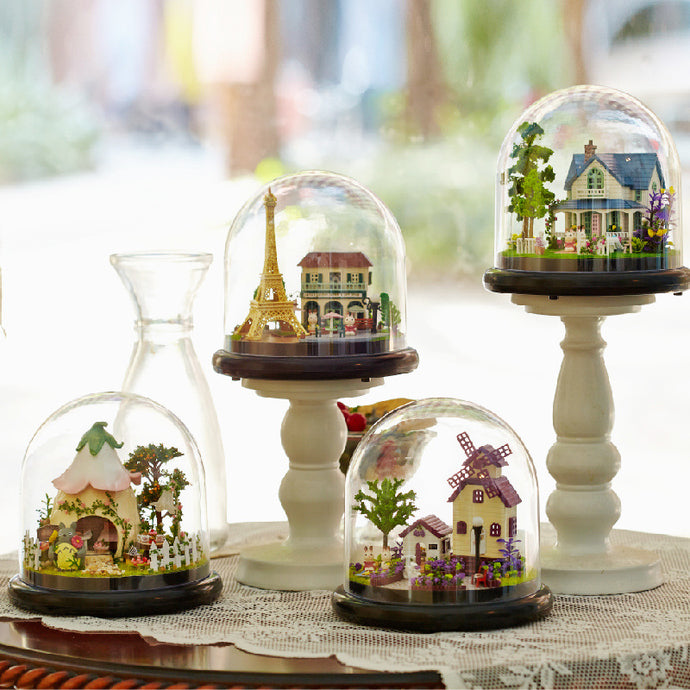 DIY Cottages Music Box with globe various scenarios