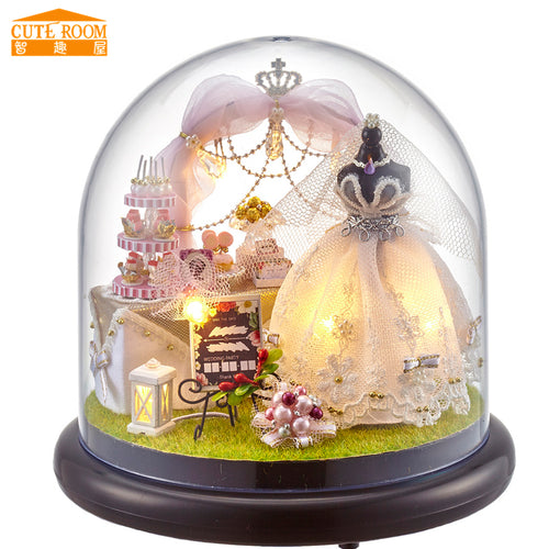Bridal Love Miniature Doll House Globe with Furniture DIY Kit for Wedding Gift